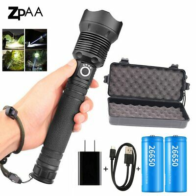 LED Flashlight 50000 lumens xhp70.2 Powerful Flashlight USB Torch Hand Light
