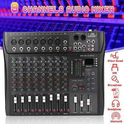 9 Channel Pro bluetooth Live Studio Audio Mixer Mixing Console USB 48V 220V