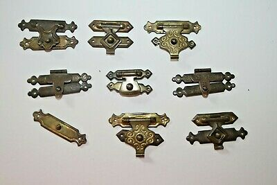 8x Original Antique Vintage Brass Box Fasteners Catches Restore Replacement Old