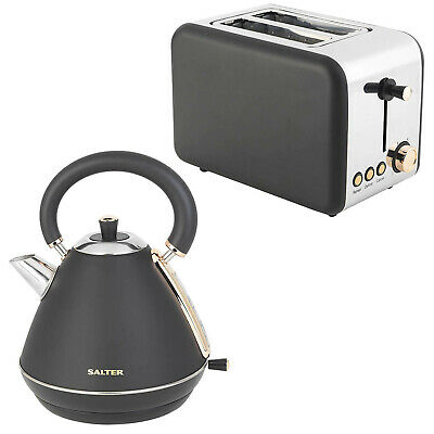 Set Of 2 Salter Electric Two Slice Toaster And Pyramid Kettle Jug Matte Black