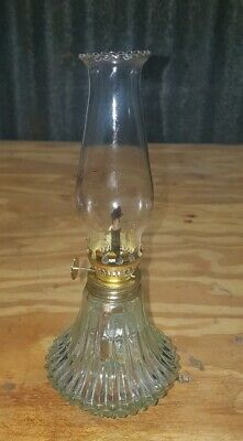 Old Vintage Stained Glass Oil Lamp