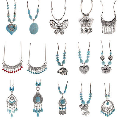 15 style Vintage Women's Tibetan Silver Turquoise Beads String Pendant Necklace