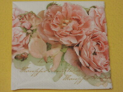 5 Servietten ROSES on WOOD Rosen Holz Serviettentechnik Motivservietten Blumen