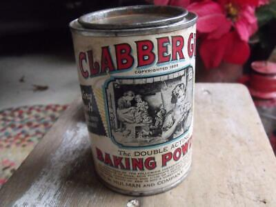Old Primitive Vintage Clabber Girl Baking Powder Can GREAT Patina Hulman & Co