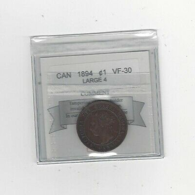 1894 Large 4 , Coin Mart Graded Canadian, Large One Cent, **VF-30**