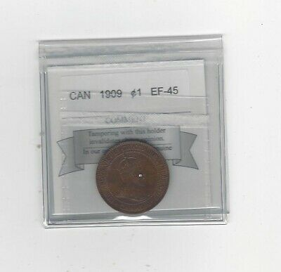 1909 , Coin Mart Graded Canadian, Large One Cent, **EF-45**