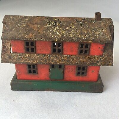 VINTAGE ANTIQUE CAST IRON METAL ORIGINAL RED PAINT HOUSE BANK Thrifty Coin(?)