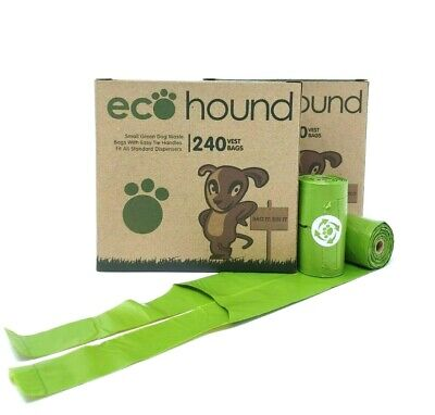 Ecohound SMALL Dog Poo Bags Biodegradable Dog Waste Bags-Tie Handles 2 BOXES
