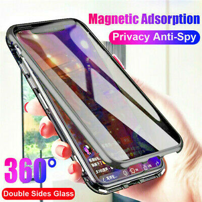 For iPhone XS MAX XR X 8 7+ 360°Full Cover Magnetic Glass Case Anti-Spy Privacy
