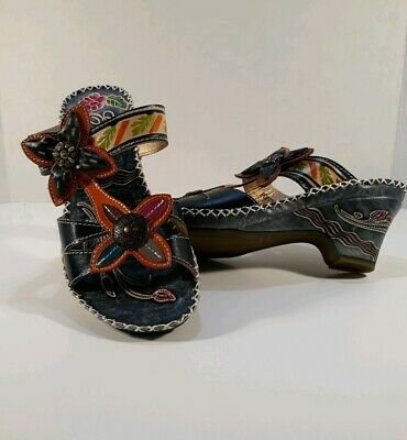 Corkys Elite POPPY Blue Leather MultiColor Hand Painted Womens Sandals sz 6