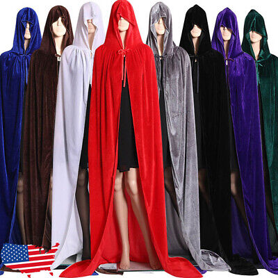 Velvet Cloak Robe Cape Man Women Cosplay Gothic Witch Princess Christmas Hooded