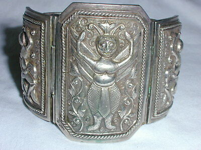 Antique Super Wide Chinese Sterling Figural Bracelet- Possibly Deities!