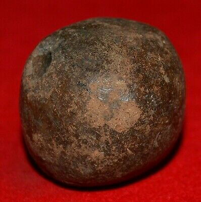 Ancient Excavated Brownish Clay Spindle Whorl Bead From Mali, African Trade