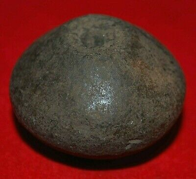 Ancient Excavated Brownish Black Clay Spindle Whorl Bead From Mali African Trade
