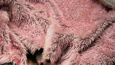 CURLY Teddy Faux Fur Fabric Material - BLOSSOM PINK