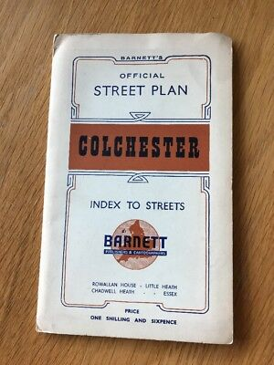 Vintage Barnetts Colchester  Street Plan With Index to Streets
