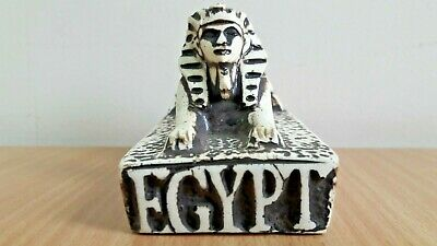 Rare Ancient Egyptian Figurine Statue Pharaoh Sphinx With Pyramid (Black&White)
