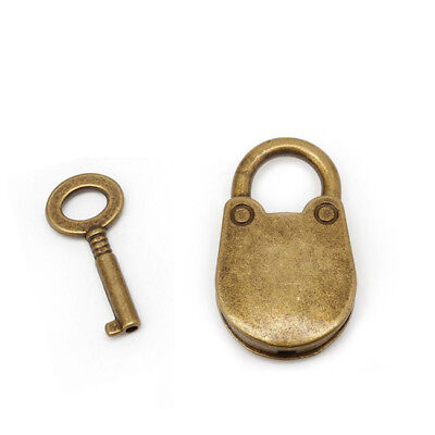 Vintage Antique Bronze Plated Old Mini Archaize Padlocks Key Lock With Key WO