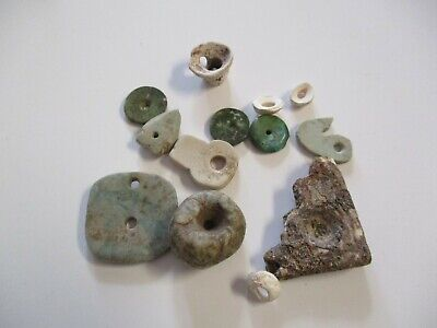 Ancient Antique Relic South America Pre Colombian Beads Lot Carving Stone Jade