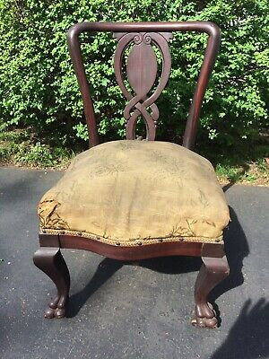 Antique Upholstered Clawed Foot Chair Original Vintage