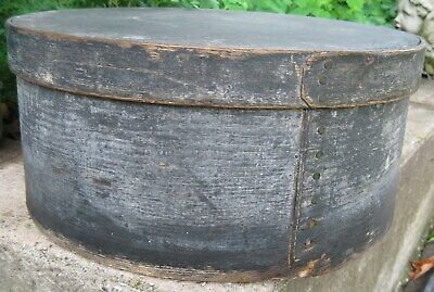 """Antique Show Stopping Xl 15"""" Wooden Pantry Box Old Blue Gray Paint Hudson Valley"""