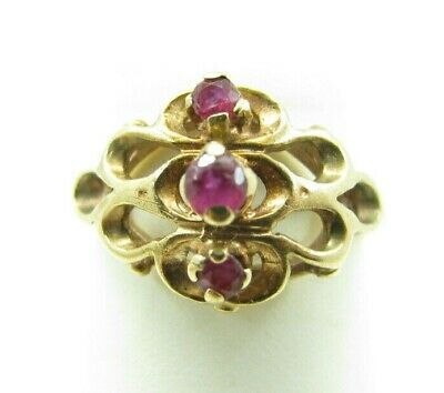 Vintage 10K YELLOW GOLD Old Red Ruby THREE STONE RING Pinky/Child FILIGREE 2.5