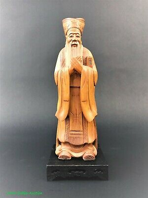 Hand Carved Oriental Chinese Wooden Figure statue Wise