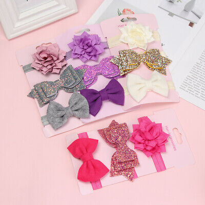 Baby Girls Cute Bandages Bows Headwear Elastic Hair band Flower Headbands
