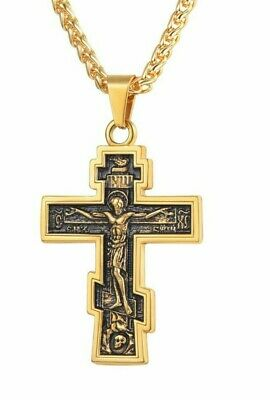 New Christian Orthodox Crucifix Jesus Russian Cross Prayer Big Pendant Stainless