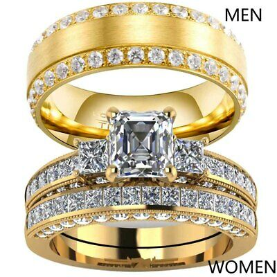 Yellow Gold Filled Couple Rings CZ Titanium Mens Band Womens Wedding Ring Sets