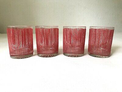 Vintage Mcm Georges Briard Red Icicles Stripes Set Of 4 Tumblers Glasses