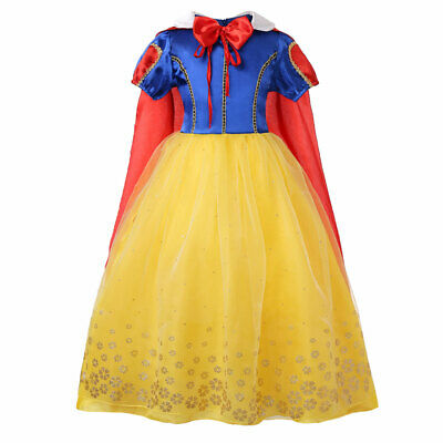 Child Girls Snow White Princess Long Gown Fancy Party Dresses Cosplay Costume