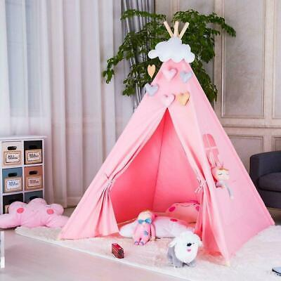 Cotton Canvas Kids Teepee Indian Tent Childrens Wigwam Indoor Outdoor Play House