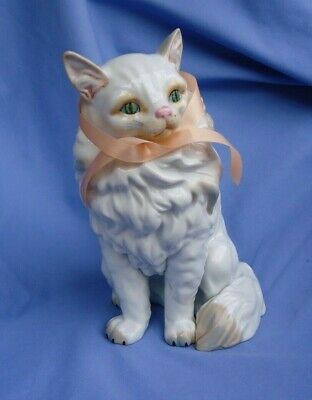 """Angora Persian Cat 10"""" White Dresden Copy From Museo"""
