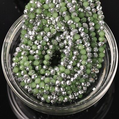 200pcs 3x4mm Rondelle Faceted Crystal Glass Loose Beads Silver&Jade Deep Green