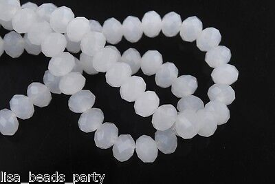 200pcs 2x3mm Faceted Rondelle Crystal Glass Loose Spacer Beads lot Jade White