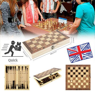 Folding Wooden Chess Set Boards Game Checkers Backgammon Draughts Toys 3 in1