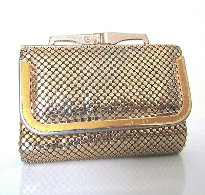 Vintage 1980's Disco Gold & Silver Glomesh Purse - Fold Out Wallet - with Tag