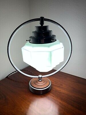 Modernist Art Deco Lamp, Chrome, Bakelite, Antique 1930s, Beehive Glass Shade