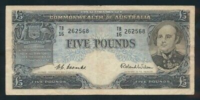"Australia: 1954 1ST ISSUE QEII £5 5 Pounds ""Commonwealth Bank"" Title. F Cat $50"
