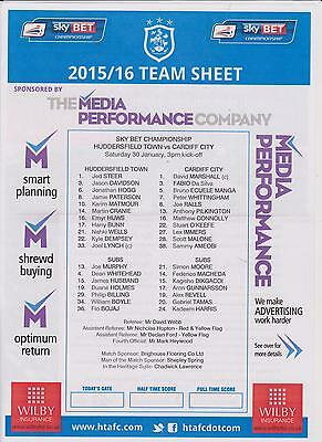HUDDERSFIELD TOWN v CARDIFF CITY COLOUR TEAM SHEET 2015-16 CHAMPIONSHIP MATCH