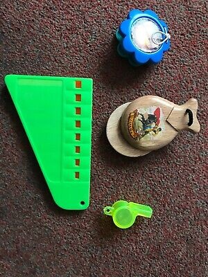 Job Lot Of Four Play Musical Instruments , Castinets , Whistle , Harmonica