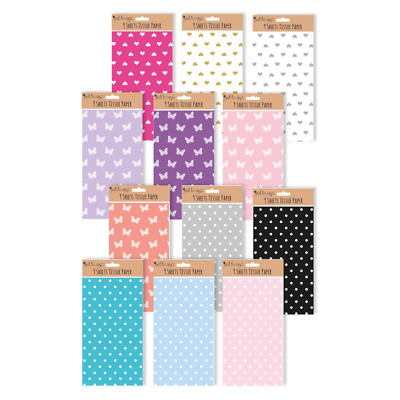 9 x Sheets Tissue Paper Wrapping And Crafting - Spots Butterfly Hearts Colours