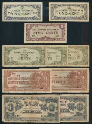"""Malaya: JAPANESE INVASION WWII 1942 1c to $100 """"COLLN OF 15 DIFFERENT"""". PM1a-M8b"""