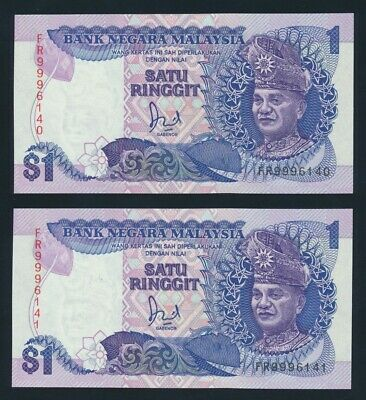 """Malaysia: 1989 1 Ringgit Hussein LUCKY NO """"999"""" CONSECUTIVE PAIR. Pick 27b UNC"""