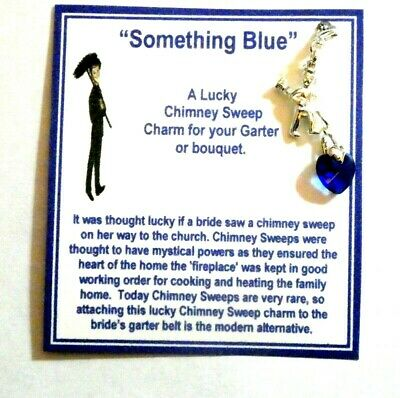 Good Luck Chimney Sweep Something Blue Horseshoe Charm for Bouquet/Garter +Card