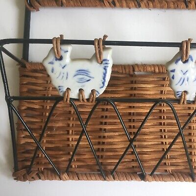 French wicker & metal paper rack bills letters wall mounted ceramic hens