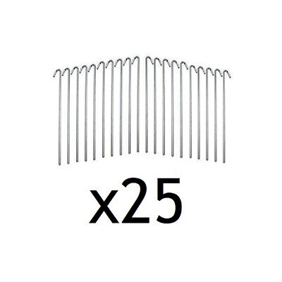 """(25) 5/16"""" x 10"""" Hook Stakes Yard Tarp Camping Landscaping Tent Anchor Steel"""