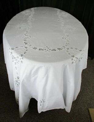 "LARGE TABLECLOTH-TAPE LACE+EMBROIDERY-WHITE COTTON-62""x100"""