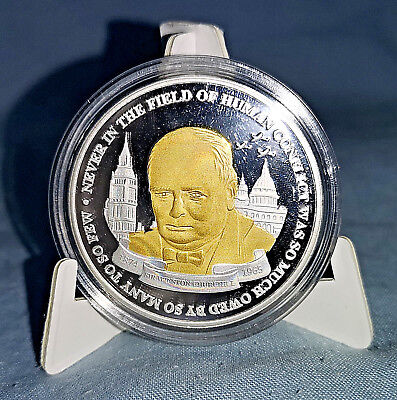 Winston Churchill Gold Silver Coin Medal World War I Planes II London Old Retro